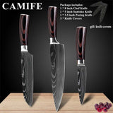 Stainless Steel Kitchen Knives Imitation Damascus Pattern Chef Knife Sharp Santoku Nakiri Cleaver Slicing Utility Knives Tool