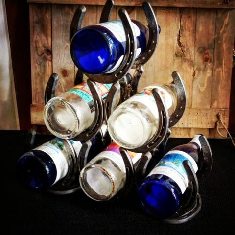 Horseshoe Wine Bottle Rack - Spirit of the West Rustic Decor