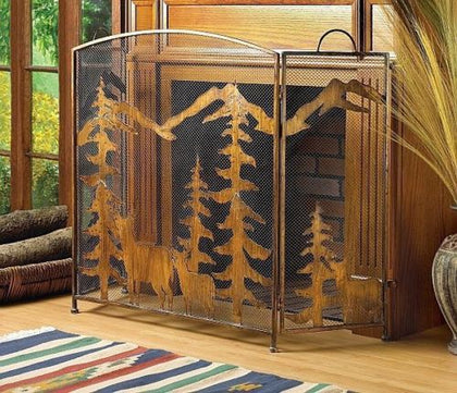 Mountain Scene Fireplace Screen - Spirit of the West Rustic Decor