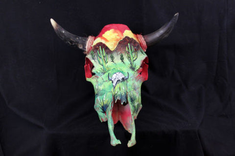 Hand Painted Cow Skull w/ Desert Scene - Spirit of the West Rustic Decor