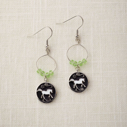 Round Black & White Running Horse Silver Earrings