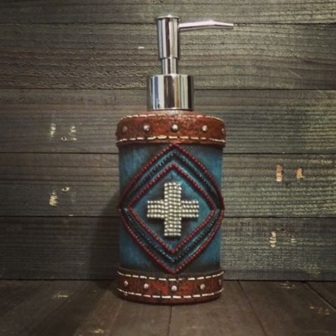 Turquoise Aztec Style Soap / Lotion Dispenser - Spirit of the West Rustic Decor