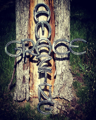 Amazing Grace Horseshoe Cross - Spirit of the West Rustic Decor