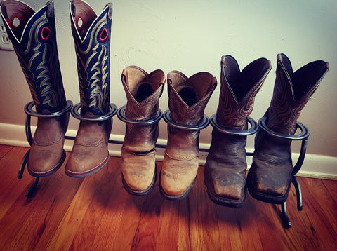 Horseshoe Cowboy Boot Rack