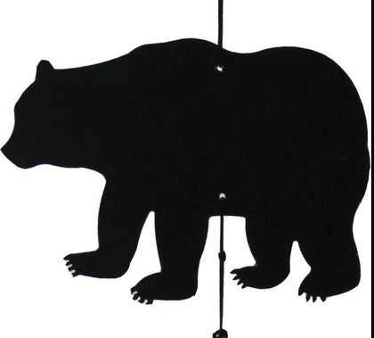 "9"" Black Bear Wind Chime - Spirit of the West Rustic Decor"
