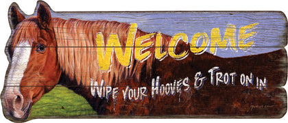 "Rustic Barn Wood Horse ""Welcome"" Sign - Spirit of the West Rustic Decor"