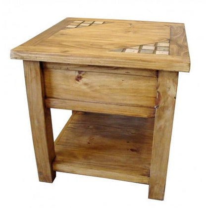 Rustic Pine End Table with Marble Inlays