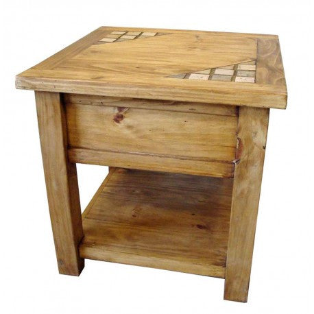 Rustic Pine End Table with Marble Inlays - Spirit of the West Rustic Decor