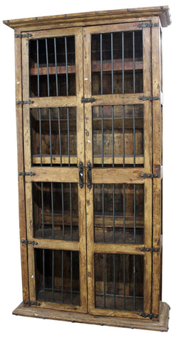 8ft Rustic Mesquite Wood Cabinet with Forged Iron - Spirit of the West Rustic Decor