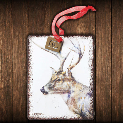 Metal Whitetail Deer Christmas Tree Ornament - Spirit of the West Rustic Decor