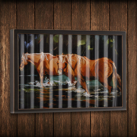 Horses in Water Corrugated Metal Art - Spirit of the West Rustic Decor