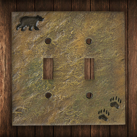 Black Bear and Tracks Double Switch Plate - Spirit of the West Rustic Decor