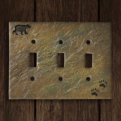 Bear & Tracks Triple Switch Plate - Spirit of the West Rustic Decor