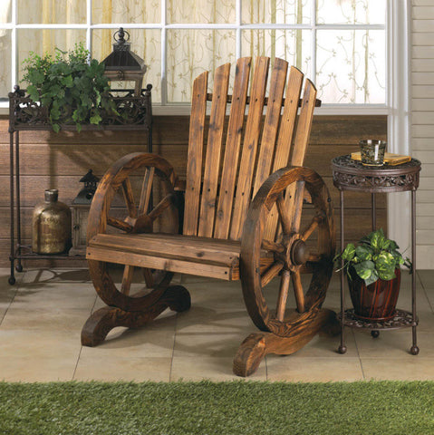 Rustic Wagon Wheel Patio Chair