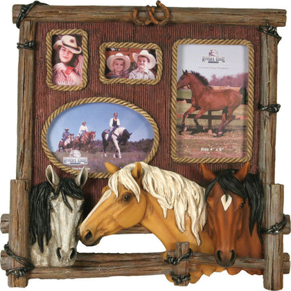 Four Photo Horse Picture Frame - Spirit of the West Rustic Decor