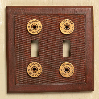 Shotgun Shell Double Switch Plate Cover - Spirit of the West Rustic Decor