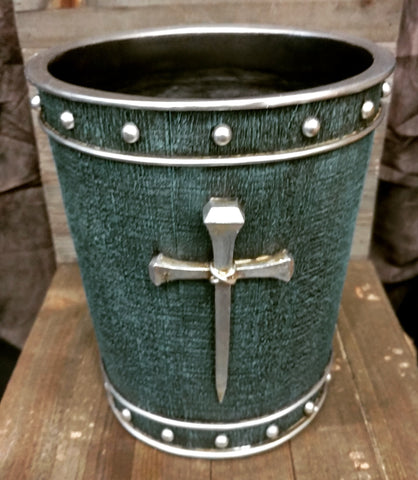 Turquoise with Horseshoe Nail Cross Trash Bin - Spirit of the West Rustic Decor