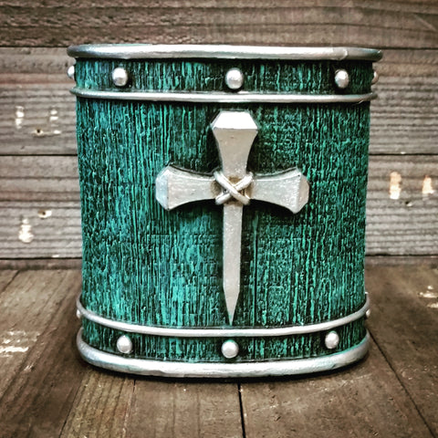 Turquoise with Horseshoe Nail Cross Tooth Brush Holder - Spirit of the West Rustic Decor