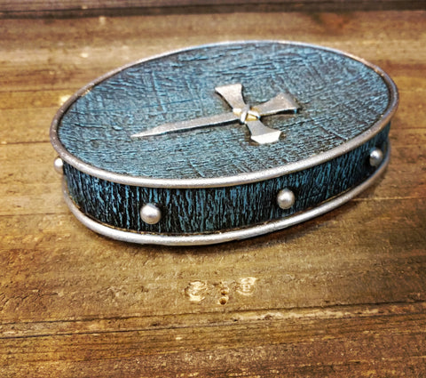 Turquoise with Horseshoe Nail Cross Soap Dish - Spirit of the West Rustic Decor