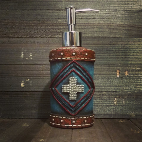 Turquoise Aztec Style Soap / Lotion Dispenser