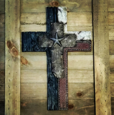 Texas Lone Star Rustic Wall Cross - Spirit of the West Rustic Decor
