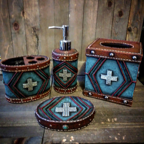 Turquoise Aztec Bathroom Set - Spirit of the West Rustic Decor