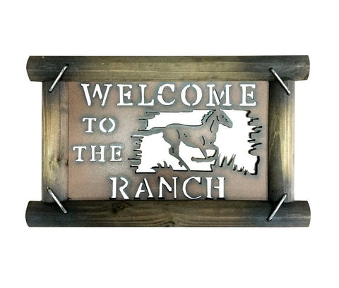 "Rustic ""Welcome to the Ranch"" Wood & Metal Sign - Spirit of the West Rustic Decor"
