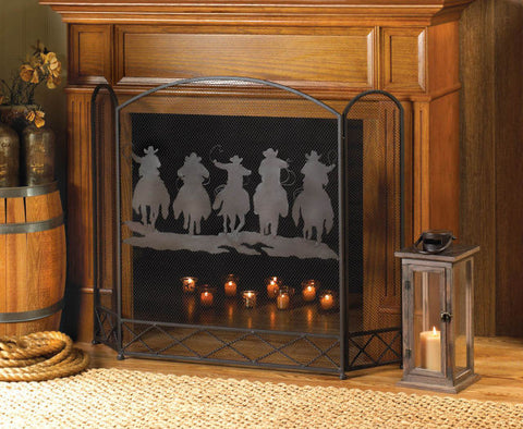 Rustic Wrought Iron Cowboy Round-Up Fireplace Screen - Spirit of the West Rustic Decor
