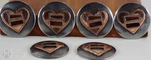 Used Handmade Heart Conchos Marked CASS