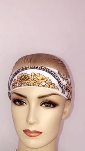 White and Gold channel inspired headband