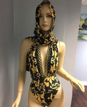 Black and Gold Versace inspired bikini set with scarf