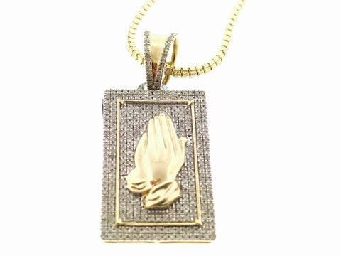 Rectangle Praying Hands Set (WITH CHAIN)