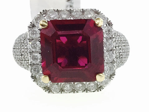 MENS SYNTHETIC RUBY RING 1.85 CARATS