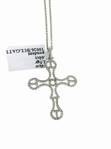 14K WHITE GOLD CROSS (WITH CHAIN)