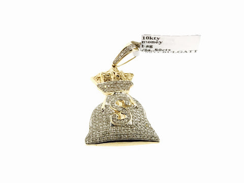 10K Yellow Gold Money Bag Pendant Dollar Sign Charm 0.80 Ct (WITH CHAIN)