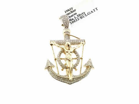 "10K Yellow Gold Diamond Anchor Wheel Jesus Crucifix Pendant 1.75"" Charm 1.20 Ct."