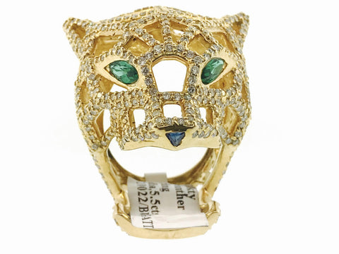 CARTIER 3D JAGUAR RING 5.5 CARATS WITH GENUINE EMERALDS