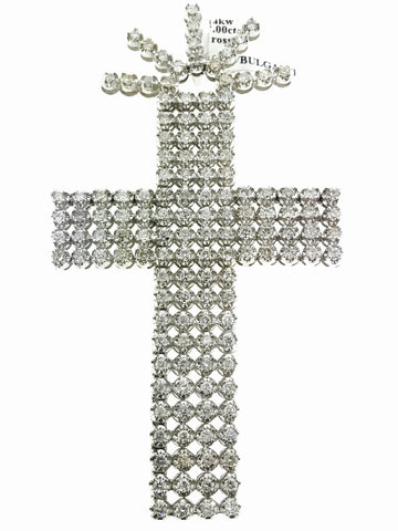 5 ROW 18K WHITE GOLD CROSS 17 CARATS