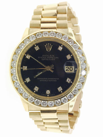Lady Rolex DateJust Presidential 3.00 Carat Bezel 33MM