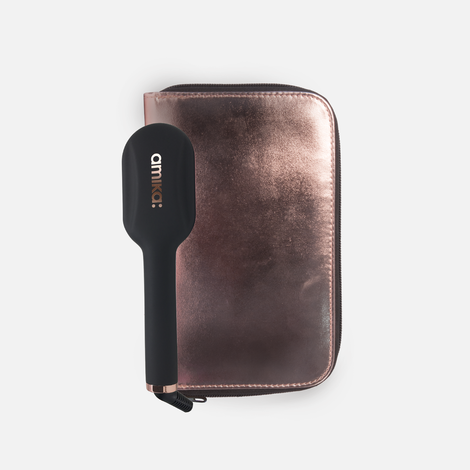 polished perfection mini <span> straightening brush - rose gold bag