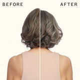 before and after using amika bust your brass | cool blonde shampoo