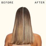 before and after using amika bust your brass | cool blonde conditioner