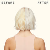 before and after using mixtape purple blonde toning drops | amika