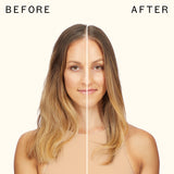 before and after using the wizard detangling primer | amika