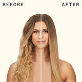 before and after using polished perfection straightening brush | amika