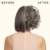 before and after using thicc volumizing base | amika