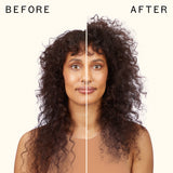 before and after using un.done volume and matte texture spray | amika