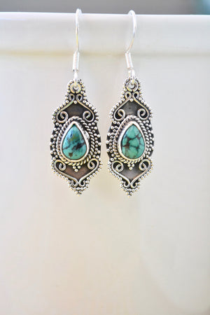 Tibetan Style Turquoise Earrings in Sterling Silver