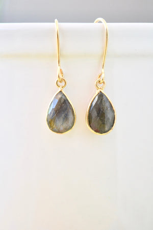 Teardrop Tourmilated Quartz Dangling Earrings