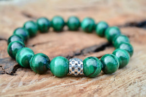 Malachite Men's Bracelet Sterling Silver Transformation Protection Business
